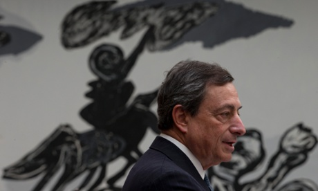 ECB president Mario Draghi addresses students at the University of Amsterdam. Photograph: AP/Peter Dejong