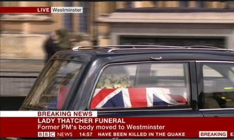 Lady Thatcher's coffin