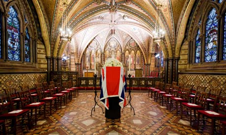 Thatcher's coffin rests in the crypt chapel of St Mary Undercroft