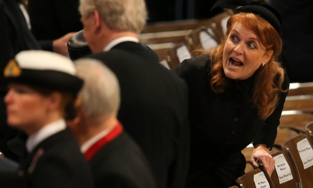 Here's another person who was big in the 1980s: Sarah Ferguson, then-Duchess of York, in the cathedral.