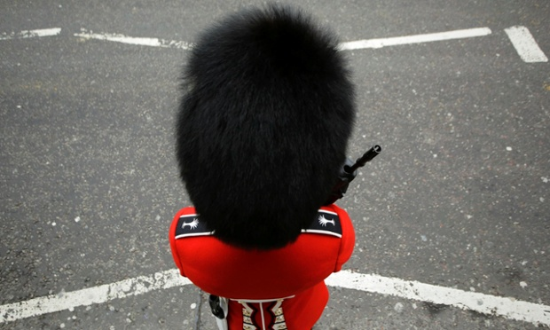 A bearskin on Fleet Street. Photograph: Kevin Coombs/Reuters