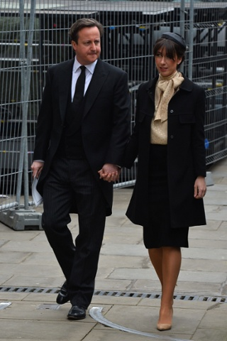 Samantha Cameron eschews all black in favour of  nude shoes and Maggie's favourite, the pussybow. Grazia here she comes!