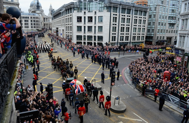 Another view of the cortege passing along Fleet Street towards St Paul's.