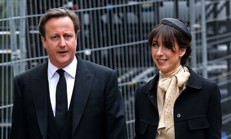 David Cameron and his wife Samantha arrive for Margaret Thatcher's funeral.