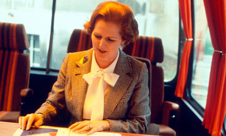 Margaret Thatcher in her pussybow blouse in 1979