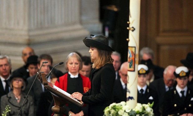 Granddaughter Amanda Thatcher gives the first reading in St Paul's Cathedral.