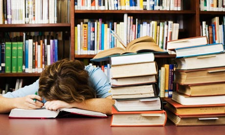 Student Falling Asleep While Cramming