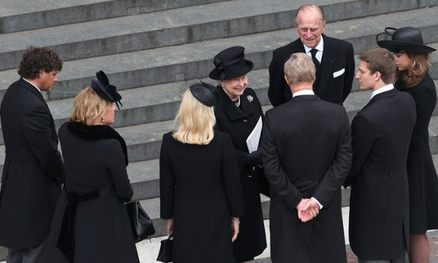 The Queen and Prince Philip speak with (left to right) Marco Grass, Carol Thatcher, Sarah Thatcher, Mark Thatcher, Michael Thatcher and Amanda Thatcher as they leave St Paul's.