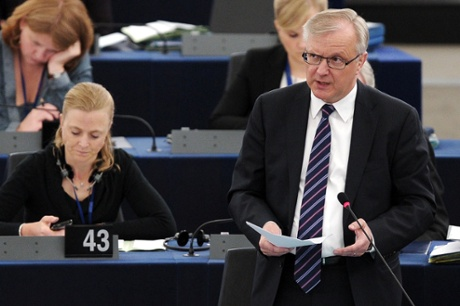 European Union Commissioner for Economic and Monetary Affairs Olli Rehn adresses the assembly during a debate on the situation in Cyprus, on April 17, 2013, at the European Parliament in Strasbourg, eastern France.