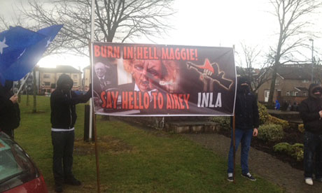 An anti-Thatcher banner in Derry on the day of her funeral.