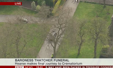 Hearse carrying Lady Thatcher's coffin