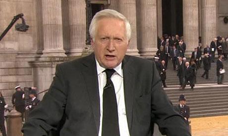 David Dimbleby presenting Baroness Thatcher's funeral
