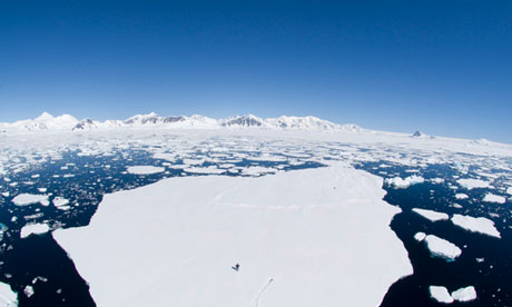 Impact of climate change: ice melt in Antarctica.