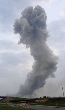 A photo supplied to Reuters said to show the plume from a fertiliser plant explosion in West, Texas