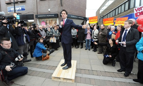 Ed Miliband takes to a pallet to talk to the residents of South Shields today to campaign in the by-election.