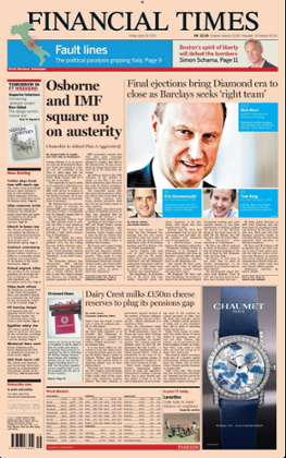 Financial Times Front Page, April 19 2013