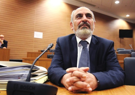 Cyprus' Finance Ministry permanent secretary Christos Patsalides, the first witness of a public inquiry into Cyprus' economic collapse, testifies before a panel of judges in Nicosia April 19, 2013.