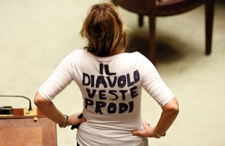 Alessandra Mussolini wears a t-shirt to protest during the second day of the presidential election in the lower house of the parliament in Rome April 19, 2013.