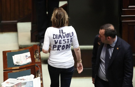 Alessandra Mussolini of The People of Freedom (PdL) wears a T-shirt which reads 'The Devil wears Prodi' ('Il Diavolo veste Prodi') as she arrives in the Chamber of Deputies on the second day of the election of the new Italian President, Rome, Italy, 19 April 2013.