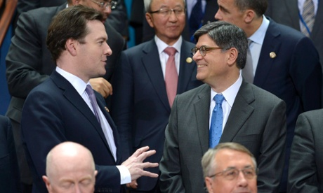 US Treasury Secretary Jack Lew (R) talks with British Chancellor of the Exchequer George Osborne (L) during group photo of G-20 finance ministers and central bankers at the 2013 IMF and World Bank Spring Meetings in Washington, DC, USA, 19 April 2013.