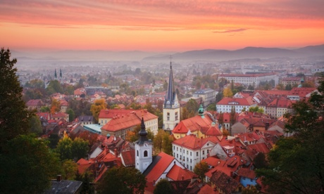 Ljubljana at sunset from Castle Hill, Slovenia.