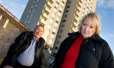 Austin Mitchell MP with his wife Linda in Hull in Tower Block of Commons.