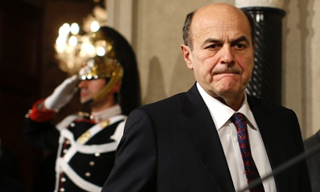 Democratic Party leader Pier Luigi Bersani at the Quirinale Presidential palace in Rome at the end of March. Photograph: Reuters/Tony Gentile