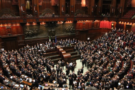 Lawmakers and senators applaud after Giorgio Napolitano was elected new Italian head of state at the Lower Chamber on April 20, 2013 in Rome, Italy.
