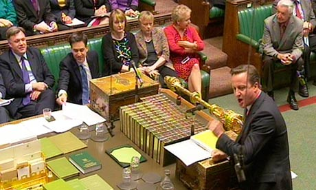 David Cameron opposite Ed Miliband at PMQs