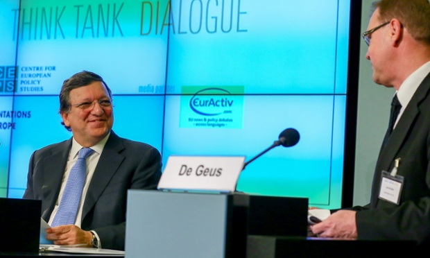European Commission President Jose Manuel Barroso (left), who admitted European austerity has reached its limits at the 'Think Ta