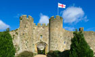 Amberley Castle flying flag of Saint George