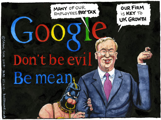 Google Don't be evil Be Mean ~ Steve Bell cartoon