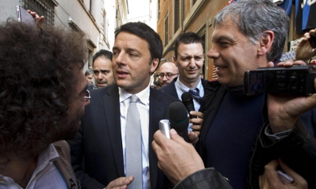 ..and his rival, the mayor of Florence, Matteo Renzi (centre). Photograph:  EPA/Massimo Percossi