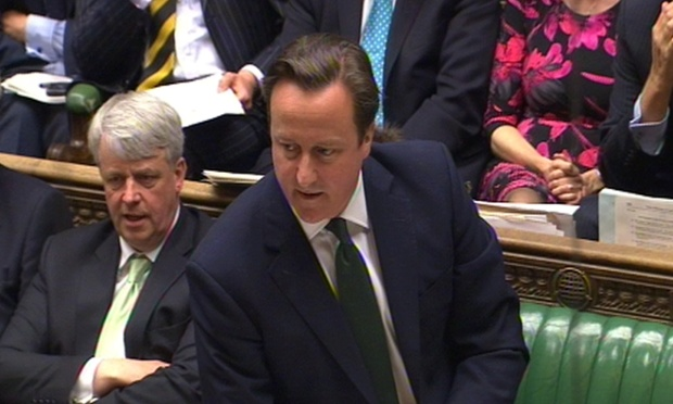 David Cameron speaks during PMQs.