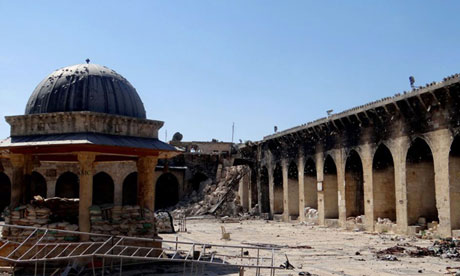 The historic Umayyad mosque in Aleppo without its minaret