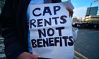 Protesters demand a cap on rents not benefits in Stratford, London
