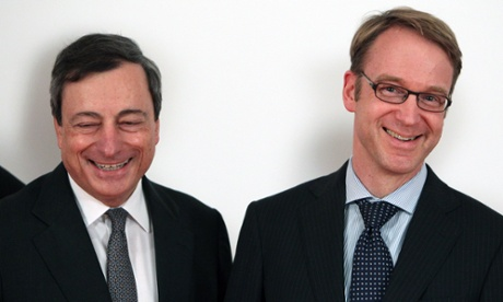 Mario Draghi, president of the European Central Bank, and Jens Weidmann, president of the Bundesbank. Photograph: AFP/Getty Images/Daniel Roland