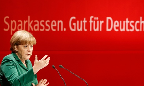 German chancellor Angela Merkel discusses interest rates at a savings bank conference on Thursday. Photograph: Reuters/Fabrizio Bensch