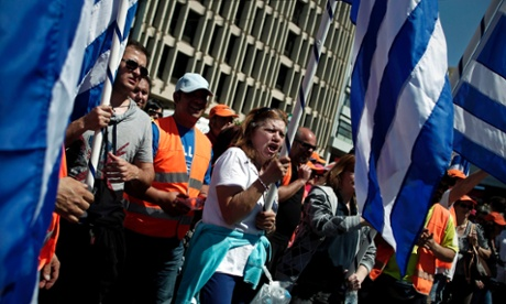 Greek municipal workers protest against government reforms in Athens. Photograph: EPA/Alkis Konstantinidis