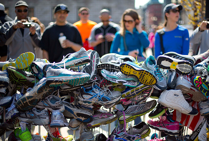 24 hours: Boston, Massachusetts, USA : A collection of running shoes