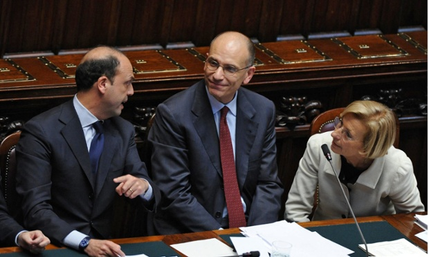 Italian Prime Minister Enrico Letta (C) is flanked by deputy prime minister Angelino Alfano (L) and Foreign Ministrer Emma Bonino (R) at the Chamber of Deputies during the vote of confidence for new Italian government, Rome, 29 April 2013.