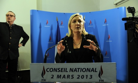 President of the far-right party the Front National, Marine Le Pen, portrays both mainstream parties in France as equally corrupt.