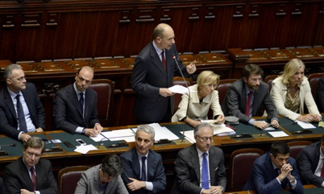 Italy's designaded Prime Minister Enrico Letta gives his first speech for confidence in front of the Deputy chamber.