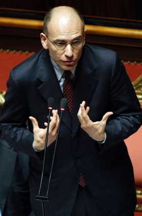 Italian Prime Minister Enrico Letta gestures at the Upper house of the parliament in Rome, April 30, 2013.