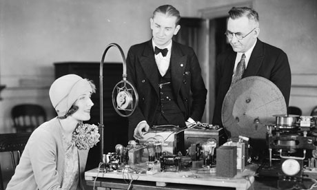 Actress Norma Shearer tests MGM Studios sound recording equipment, 1928