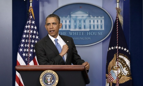 Barack Obama prepares to speak during a press conference in the briefing room of the White House on 30 April.