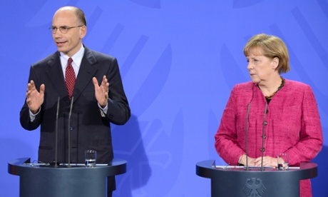German chancellor Angela Merkel and Italy's new prime minister Enrico Letta in Berlin. Photograph: AFP/Getty Images/John Macdougall