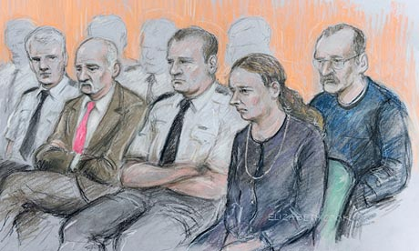 Court artist's drawing of Mick Philpott, Mairead Philpott and Paul Mosley at Nottingham crown court