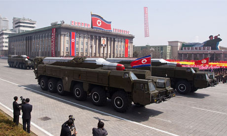North Korean Musudan-class missiles displayed during a 2012 military parade