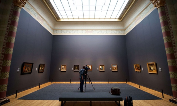 A cameraman films paintings by Vermeer in Amsterdam's Rijksmuseum, which is to open to the public on 13 April after a 10-year renovation. The world-famous museum opened its doors to the press today after the €375m renovation.